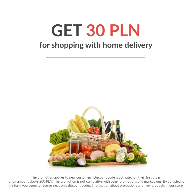 Subscribe to our newsletter and receive 30 PLN for first order at the shop InternetowySupermarket.pl