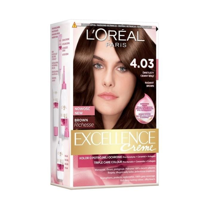 Loral Paris Excellence Creme Hair Dye 403 Shining Dark Brown