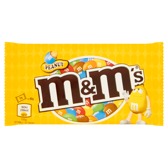 M&M's Peanut Peanuts covered with chocolate in colorful shell 45g
