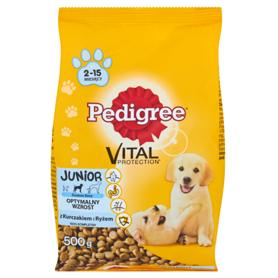Pedigree Vital Protection Junior Chicken & Rice Medium breed Complete food 500g