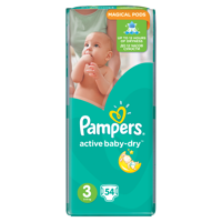 Pampers Active Baby-Dry Nappies 3 Midi 54 art