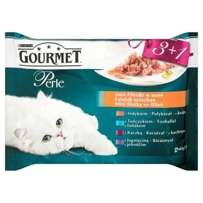 7bf9e3eb0f0020 Gourmet Perle Mini Fileciki w sosie Pełnoporcjowa karma dla dorosłych kotów  4 x 85g